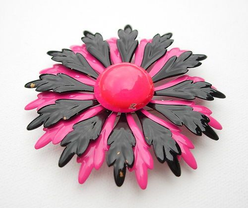 Vintage Metal Enamel Flower Brooch Pin Costume Jewelry Pink Black 3 1/8""
