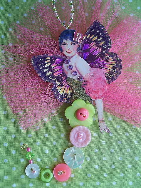 Button Fairy      Made for a private swap in one of my favorite color combinations.