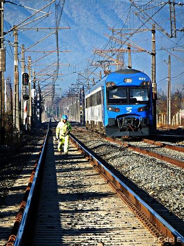 Un Tren y un Trabajador que mantiene las vías