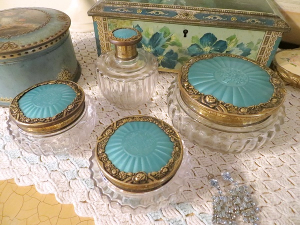"""A little set of dressing table """"jars"""" with lots of pretty detail. At a glance these look like a Victorian set but in fact are from the 1950's"""