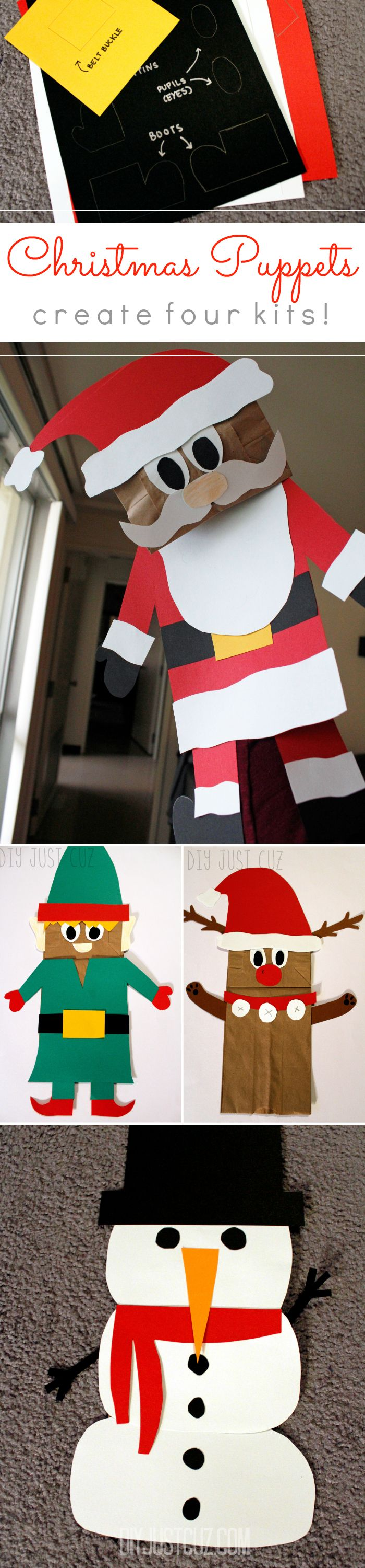 Read this step by step tutorial to create 4 unique christmas puppet kits for the little ones on your list! Create a santa puppet, elf puppet, reindeer puppet and snowman puppet! So easy & so adorable! @diyjustcuz