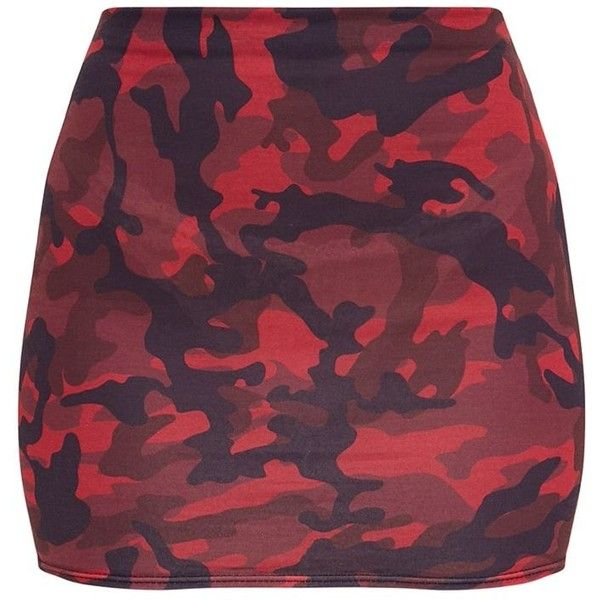 Red Camo Print Mini Skirt ($11) ❤ liked on Polyvore featuring skirts, mini skirts, red skirt, red mini skirt, camouflage skirt, camo print skirt and camo skirt