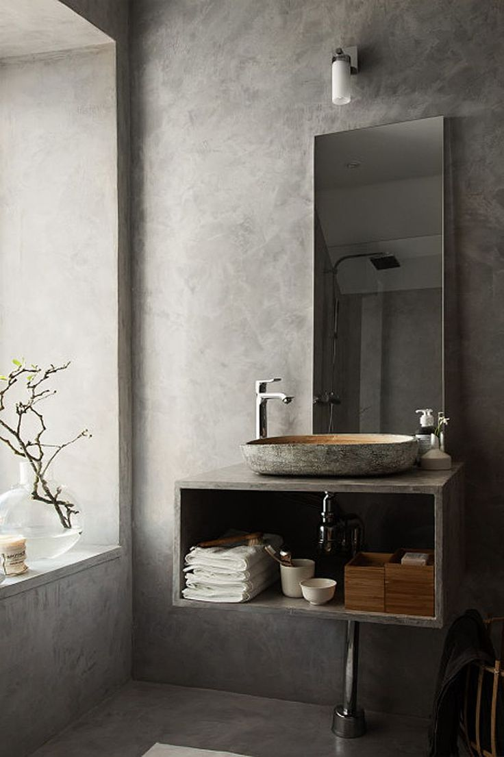 a beautiful concrete grey bathroom stil inspiration - Designer Ideas