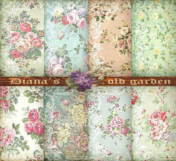 French Shabby Chic Digital Papers. Floral Download. by DianaGarden, $4.80