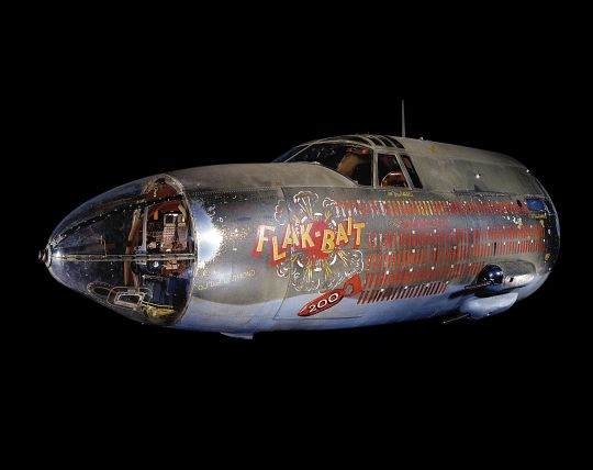 "On April 17, 1945, the Martin B-26 ""Flak-Bait"" became the first allied bomber in the European Theater of Operations to complete 200 combat missions, signified by the ""200"" painted on its nose.  It's 200th mission was leading the entire 322nd Bombardment Group to Magdeburg, Germany, and back."