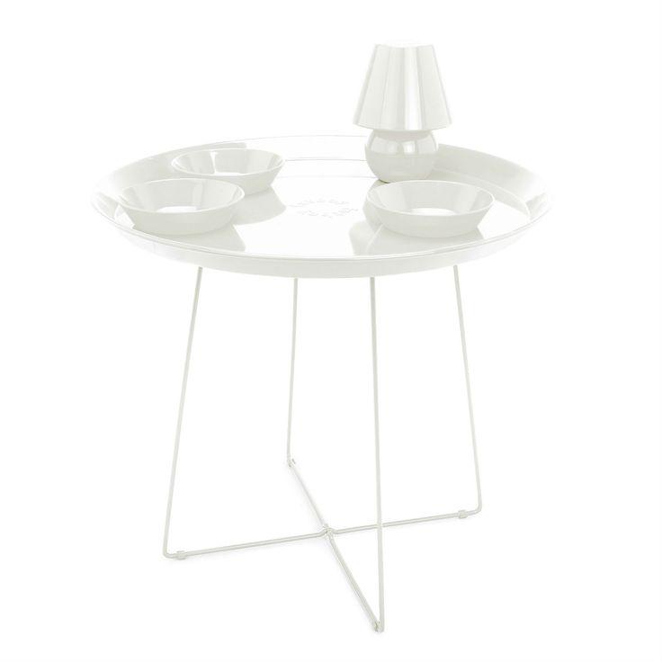 SNACKLIGHT - Table basse avec plateau 3 coupelles et lampe LED blanc H59cm Fatboy