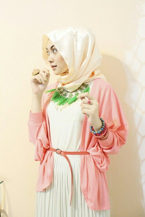 #Hijab #White #Dress #CoralCardigan #Belt #GreenNecklace