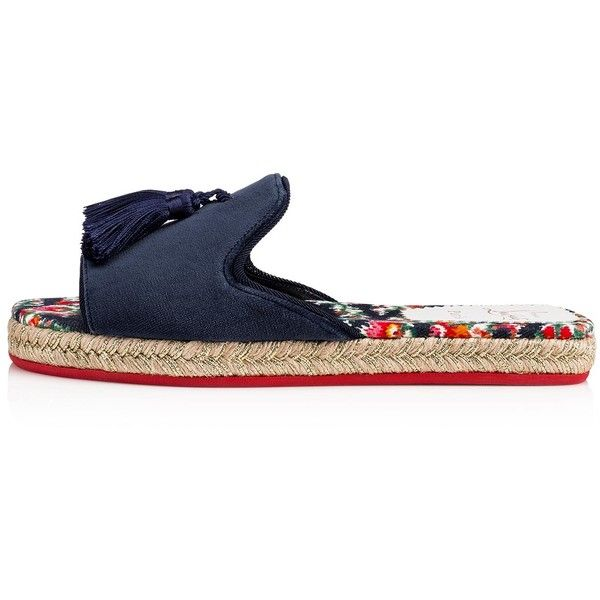 Pacha Flat  Version Multi/Navy Denim Fiori - Women Shoes - Christian... ($495) ❤ liked on Polyvore featuring shoes, embellished flat shoes, navy blue flat shoes, navy shoes, navy flat shoes and flat shoes