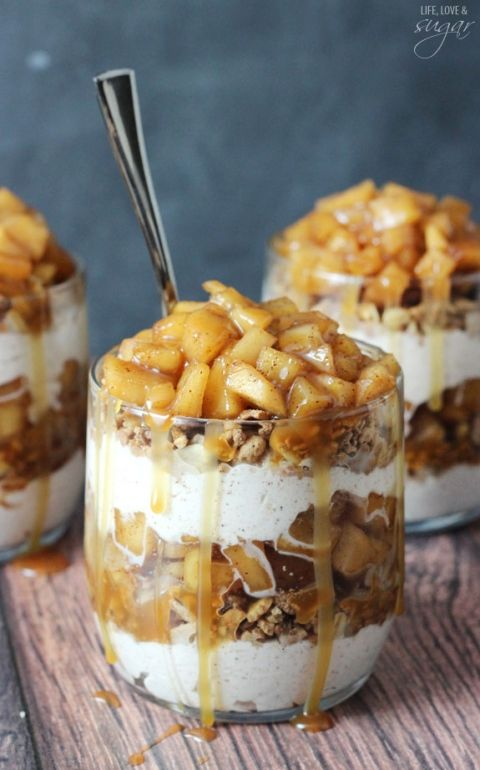 Caramel Apple Trifles - layers of granola, cinnamon whipped cream, cinnamon apples and caramel!