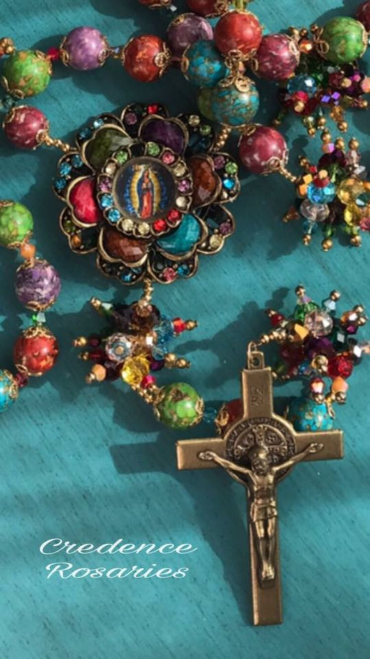 Our Lady of Guadalupe handcrafted multicolored Gemstone beaded Rosary traditional 5 decades.