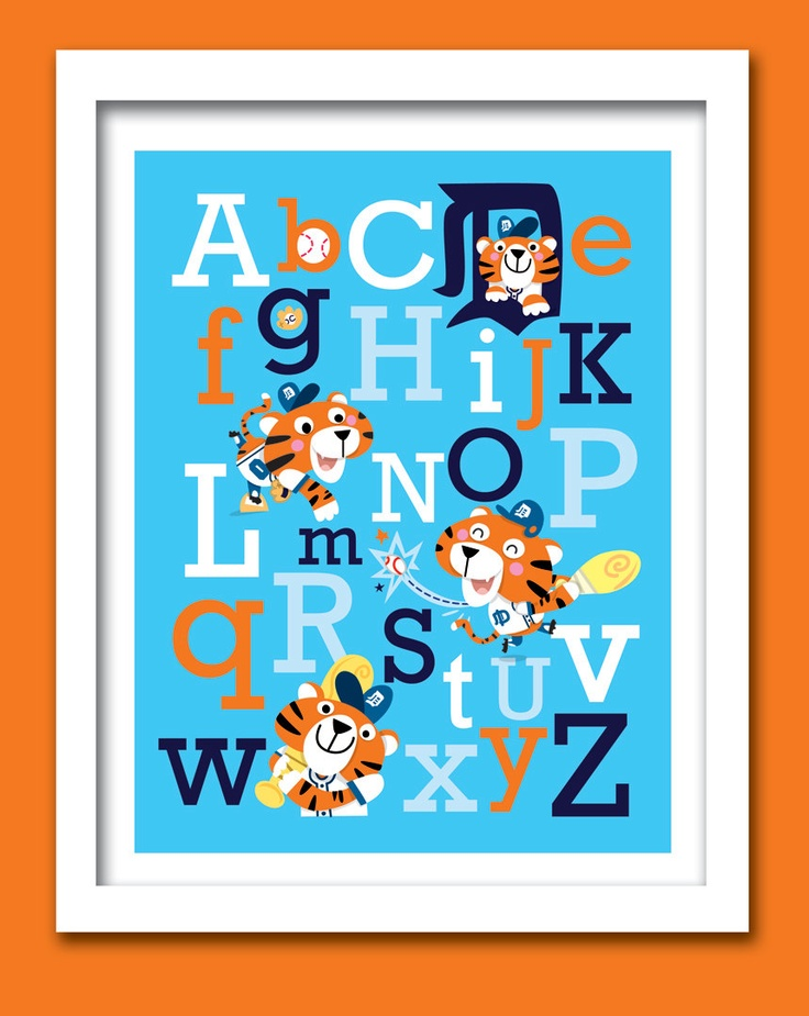 Baseball Nursery Decor: Detroit Tigers Baseball ABC Nursery Art Print