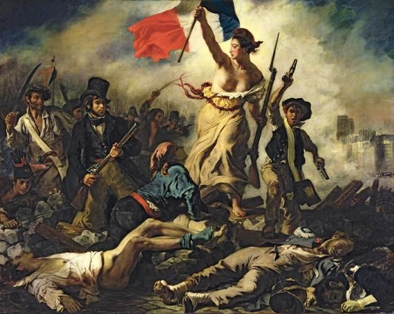 Liberty Leading the People,   28 July 1830. Ferdinand Victor Eugène Delacroix. This work celebrates the French Revolution of 1830.  Liberty's air-punching posture probably inspired the Statue of Liberty which was built soon after.   Hats are quite important in this painting: Liberty wears a 'Phrygian' hat,