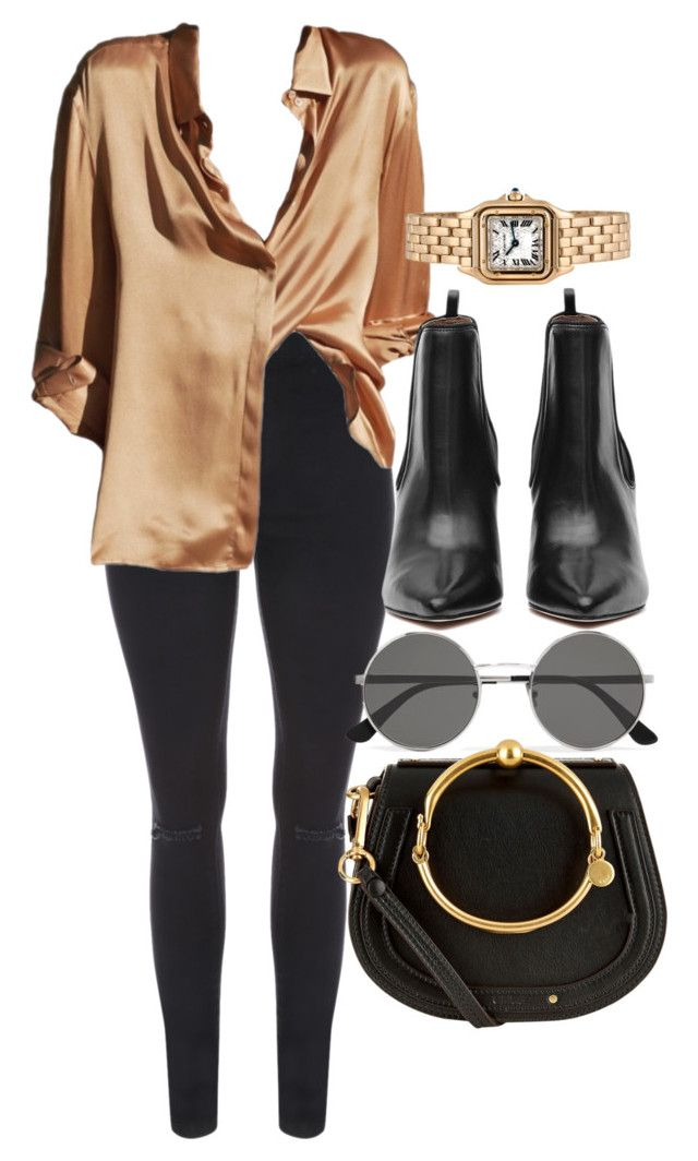 """Untitled #5197"" by olivia-mr ❤ liked on Polyvore featuring Yves Saint Laurent, Chloé and Cartier"