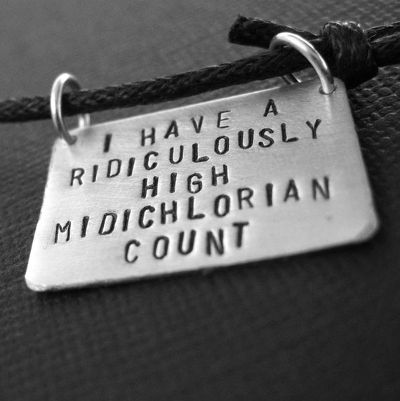 Star Wars -Midichlorian Count Stamped Mens Necklace in aluminum on Cotton Cord