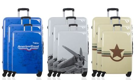Coming with a cabin, medium and large size bag, this luggage set is suitable both for short trips as well as long travels Groupon Goods Global GmbH: Printed Polycarbonate Three-Piece Luggage Set for £99.95 With Free Delivery (83% Off £599.95)