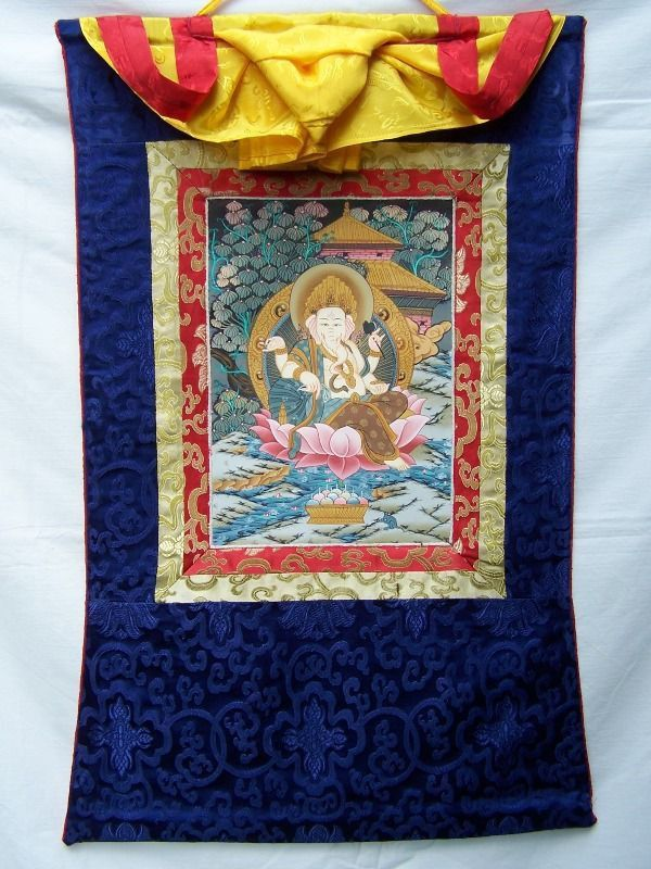 Beautiful brocaded Ganesha thangka