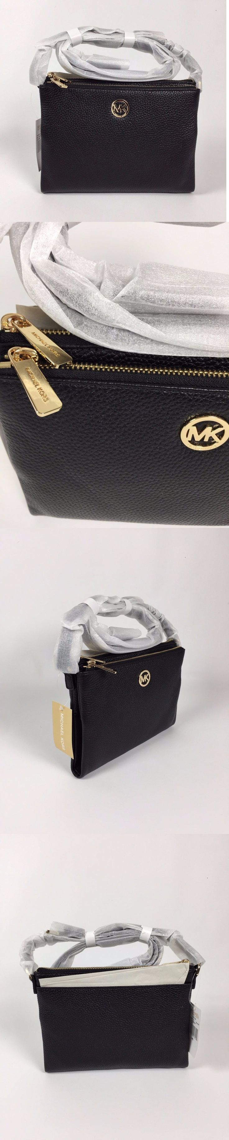 Women Handbags and Purses: Nwt Michael Kors Black Crossbody Leather Handbag Mk Signature Messenger Bag -> BUY IT NOW ONLY: $118 on eBay!