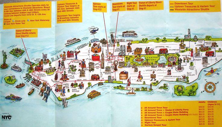 Manhattan, New York / Vereinigte Staaten von Amerika / United States of America / USA - Karte / Map