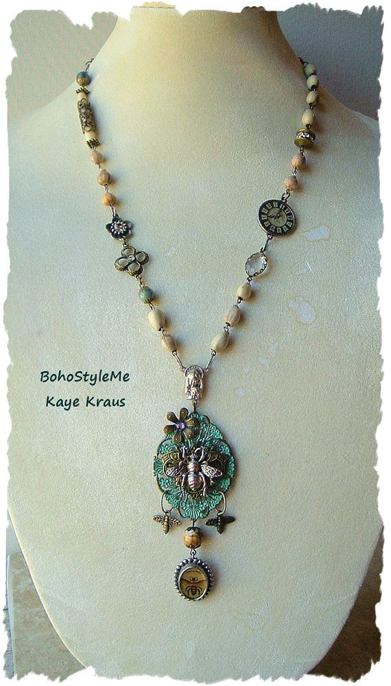 Honey Bee Assemblage Necklace Boho Style Queen Bee by BohoStyleMe