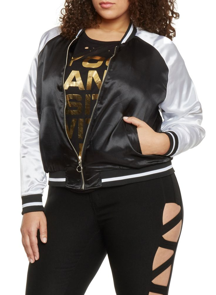 Plus Size Satin Zip Up Varsity Jacket,BLACK/WHITE,large