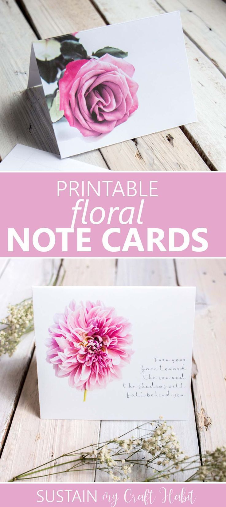 Printable Floral Note Cards Floral Note Cards Printable Note Cards Card Templates Printable
