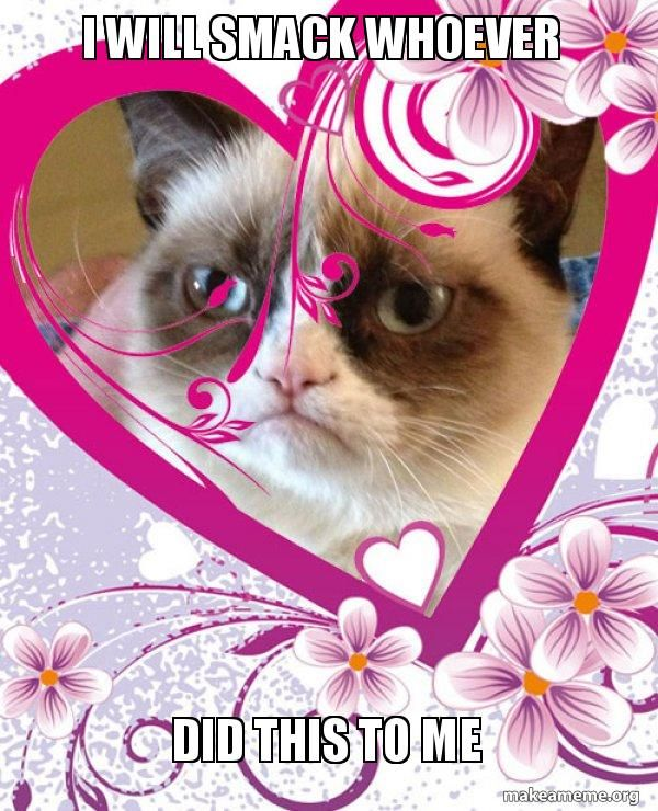i will smack whoever  did this to me - Grumpy cat Valentines Day