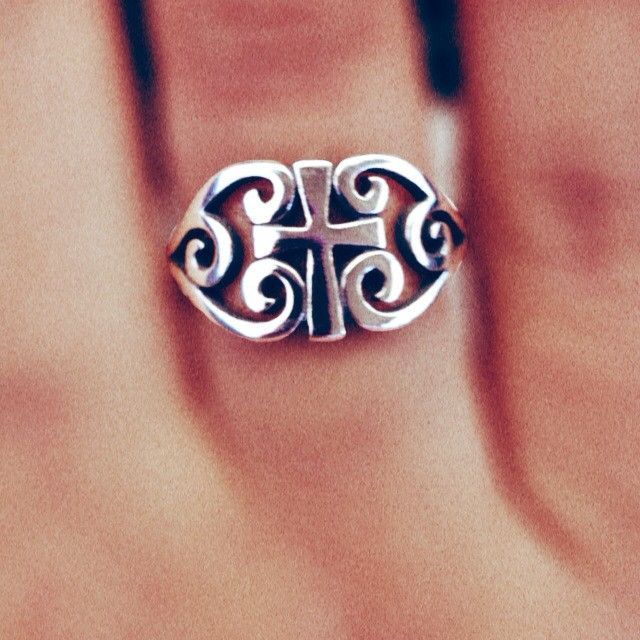James Avery Scroll Cross Ring. Reminds me of my nephew Chad's cross he had tattoo on his back after the death of my father and his granddaddy.
