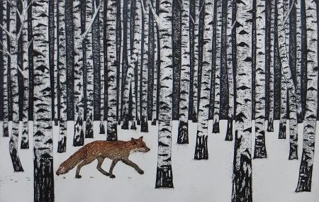 The Way Through the Woods collagraph by Hester Cox