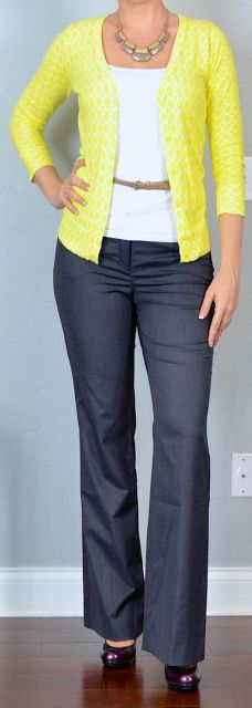 Business Casual for the win! Outfit Posts: outfit post: yellow cardigan, white cami, blue pants