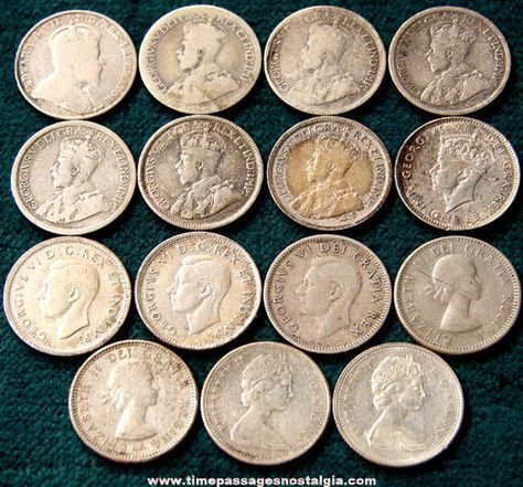 Old Dimes | 15) Old Canadian Silver Dime Coins - TPNC