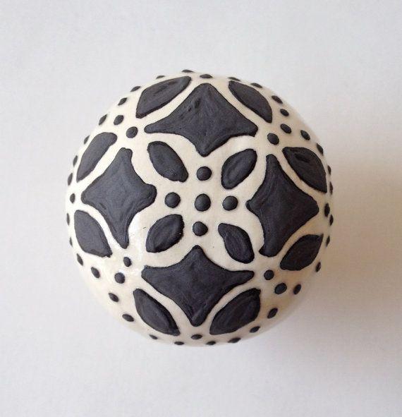 Rustic Ceramic KNOB Black & off White Handle Pull by FULTONandCO, $24.00