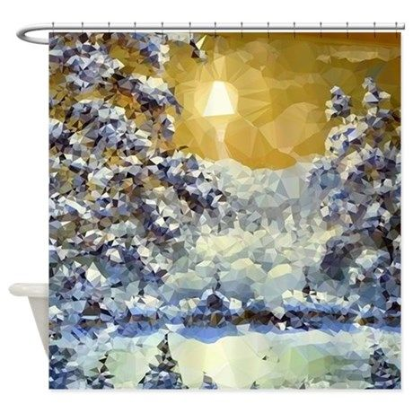 Christmas Low Poly Moonlight Snow Shower Curtain