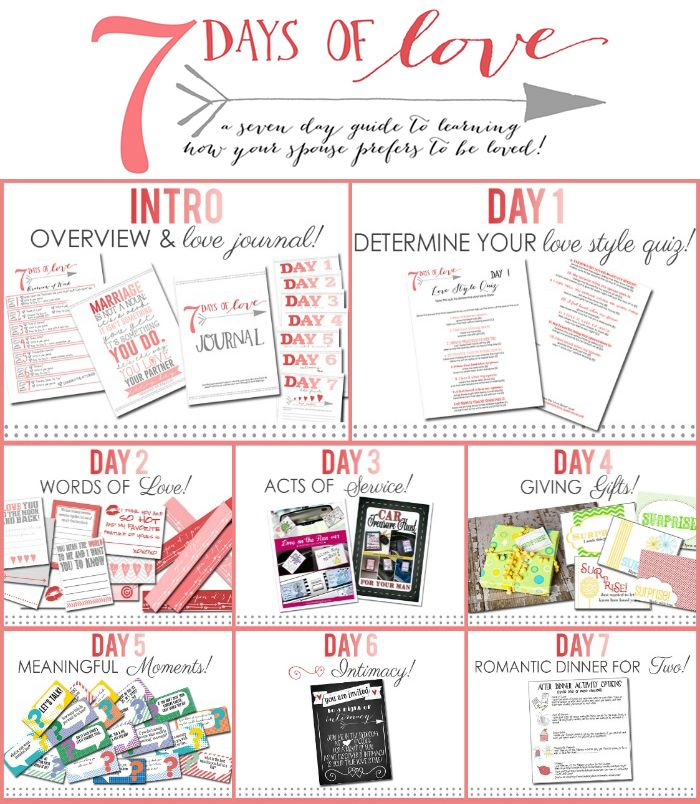 Do you know how your spouse prefers to be loved?  You will by the end of the week with our FREE 7 Days of Love Program!  Here's a sneak peek at everything you'll get delivered to your inbox...