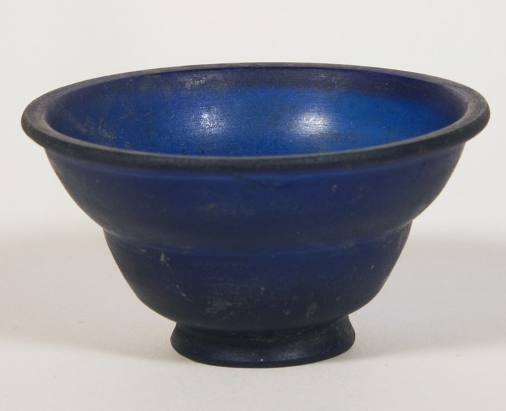 """Early 1st AD Roman cast glass bowl; rotary-polished with cut decoration  4.1 x 7.5 x 7.5 cm (1 5/8"""" x 3"""" x 3"""").   Gift of Theodore W. and Frances S. Robinson, 1947.890"""