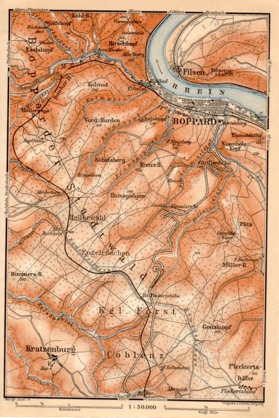 1909 Boppard Germany Antique Map Rhein Hunsrück by Craftissimo