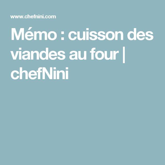 Mémo : cuisson des viandes au four   chefNini