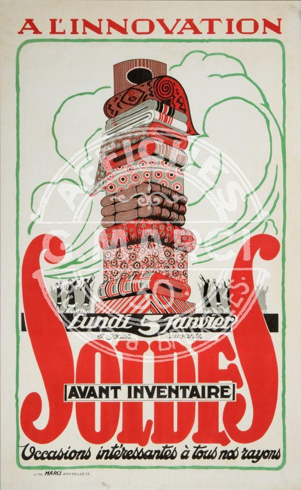 A l'Innovation / Soldes avant inventaire / Occasions intéressantes à tous nos rayons 1925 Imprimerie Marci, Brussels, Belgium Vintage poster collection