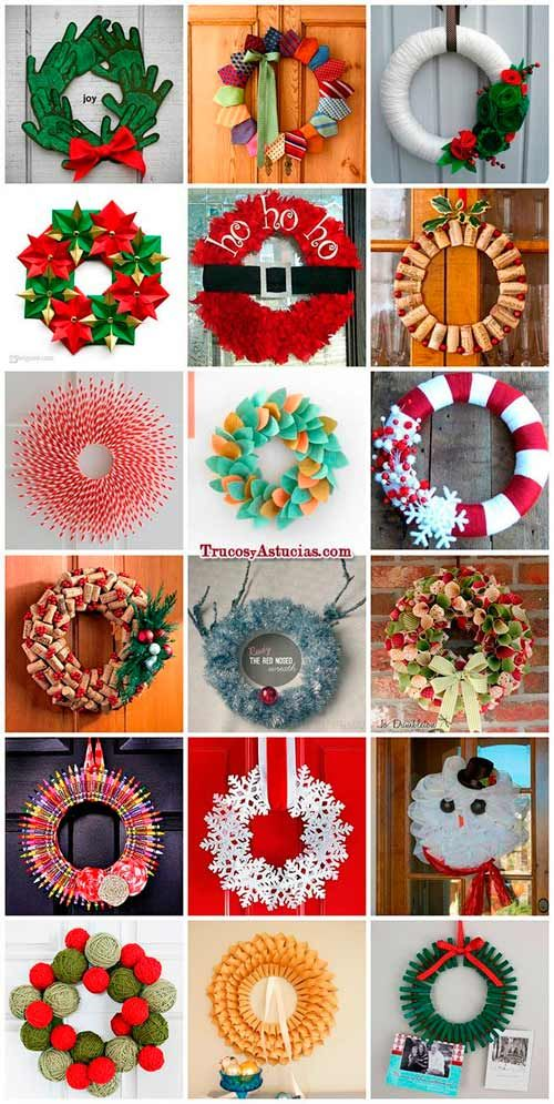 M s de 25 ideas incre bles sobre coronas para puerta en - Guirnaldas navidad manualidades ...
