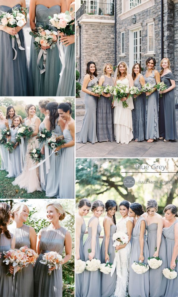blue grey chiffon bridesmaid dresses and wedding color ideas 2015