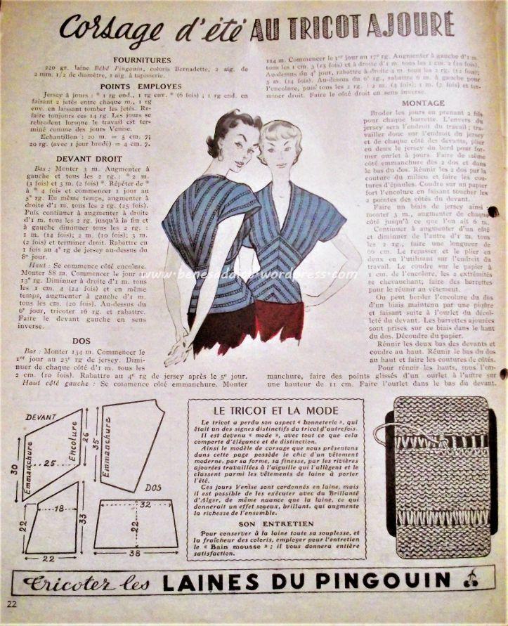 Scans Revue Mon Ouvrage 1950 Vintage avec patrons gratuits couture tricot crochet