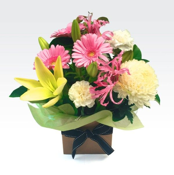 #Petite_Poppy - A seasonal box arrangement of pretty pastel blooms including gerberas and #lilies with complimenting foliage. Ideal for travel and low maintenance. Hurry up, Buy Now!