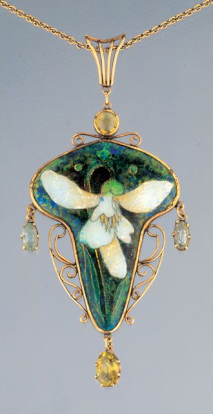 A gold, enamel, citrine and aquamarine pendant by Charles Robert Ashbee, c.1900, depicting a snowdrop, a symbol of hope. (tademagallery.com)