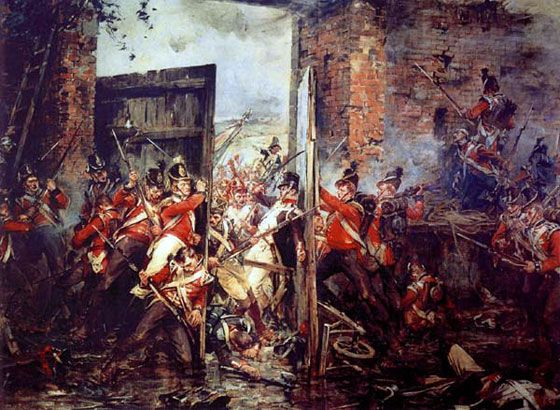 """Closing the gates at Hougoumont,1815; Robert Gibb. Arguably the most important point on the battlefield of Waterloo, Wellington declared afterwards that """"the success of the battle turned upon the closing of the gates at Hougoumont"""""""