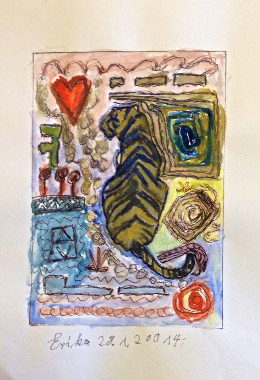 Erika und der der Tiger -  Doodeln auf Kunstdruck  Aquarellstifte, Aquarellfarben, Faserstifte