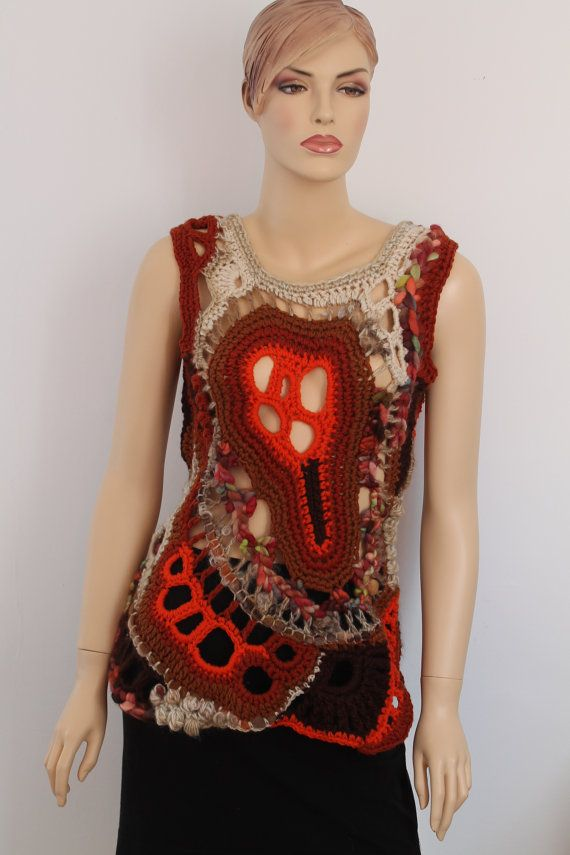 Chunky Freeform Crochet Vest   Top  Tunic Wearable by levintovich, $245.00