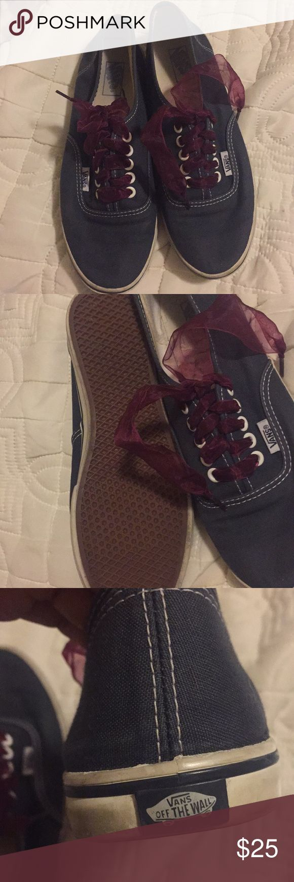 Slim Vans Lightly used slim Vans. Ribbon shoe laces but you can always change those out. Vans Shoes Sneakers