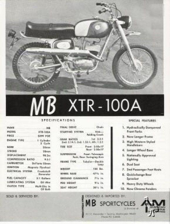 Moto Beta XTR 100 - Vintage Specs