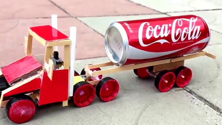 How to Make a Simple Electric Truck Out of Popsicle Sticks with Coca Col...
