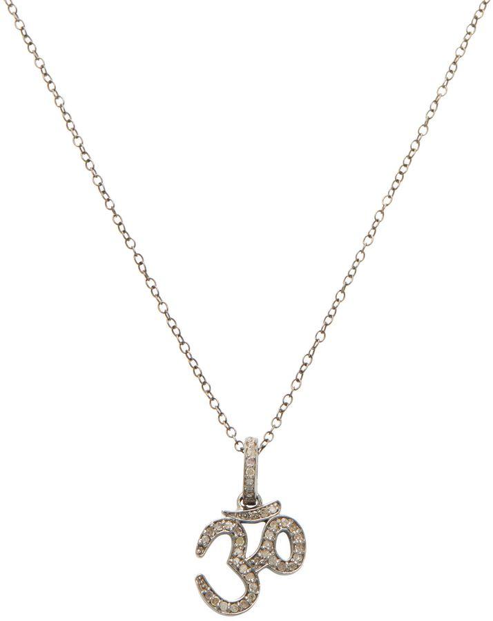 ADORNIA Fine Jewelry Women's Silver & 0.30 Total Ct. Diamond Om Pendant Necklace