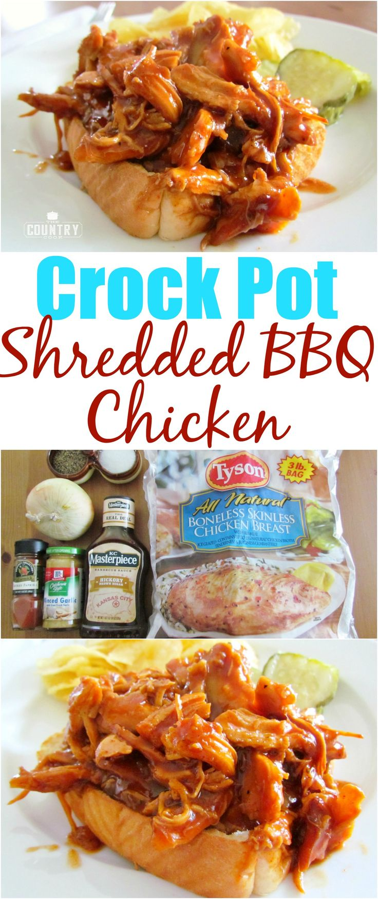 Crock Pot Shredded BBQ Chicken recipe from The Country Cook. So tender and yummy!